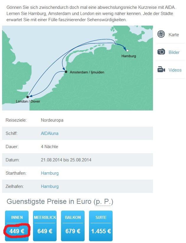 AIDA Minikreuzfahrt: 4 Tage ab Hamburg für 449€ – Tolles Angebot für alle London Fans!