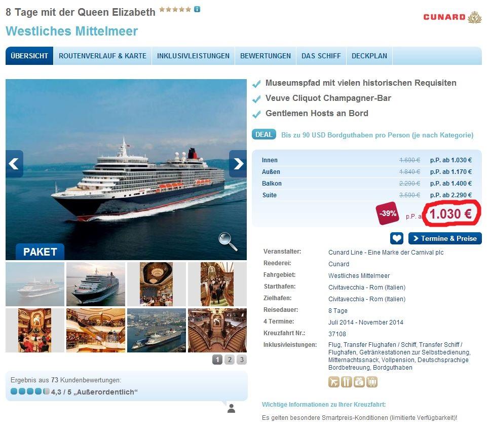 8 tägige Mittelmeerkreuzfahrt mit der Queen Elizabeth inkl. Flug im Schnäpchenpreis von 1030€