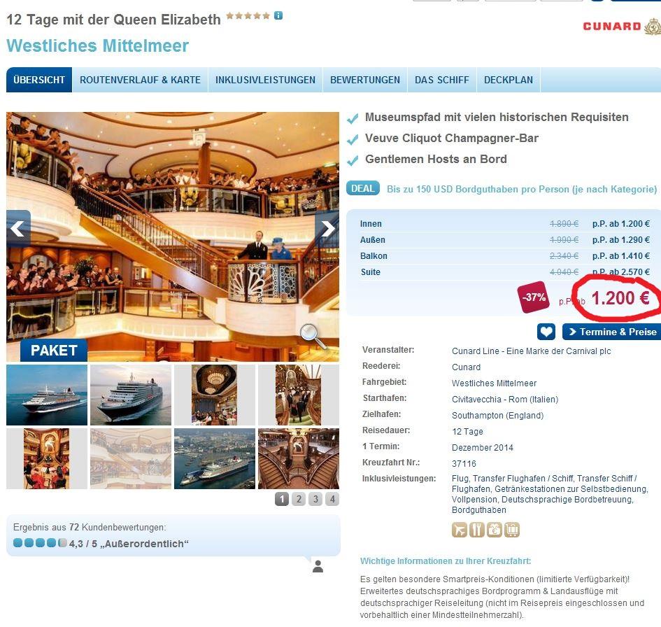 Knaller Angebot: 12 Tage mit der Queen Elizabeth inkl. Flüge für 1200€