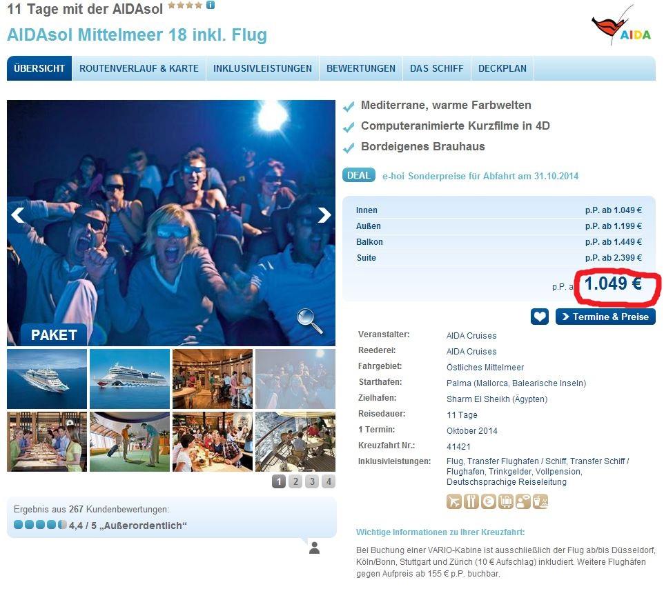 Schnäppchen: 11 Tage Mittelmeer ab Mallorca mit Flug 1.049€