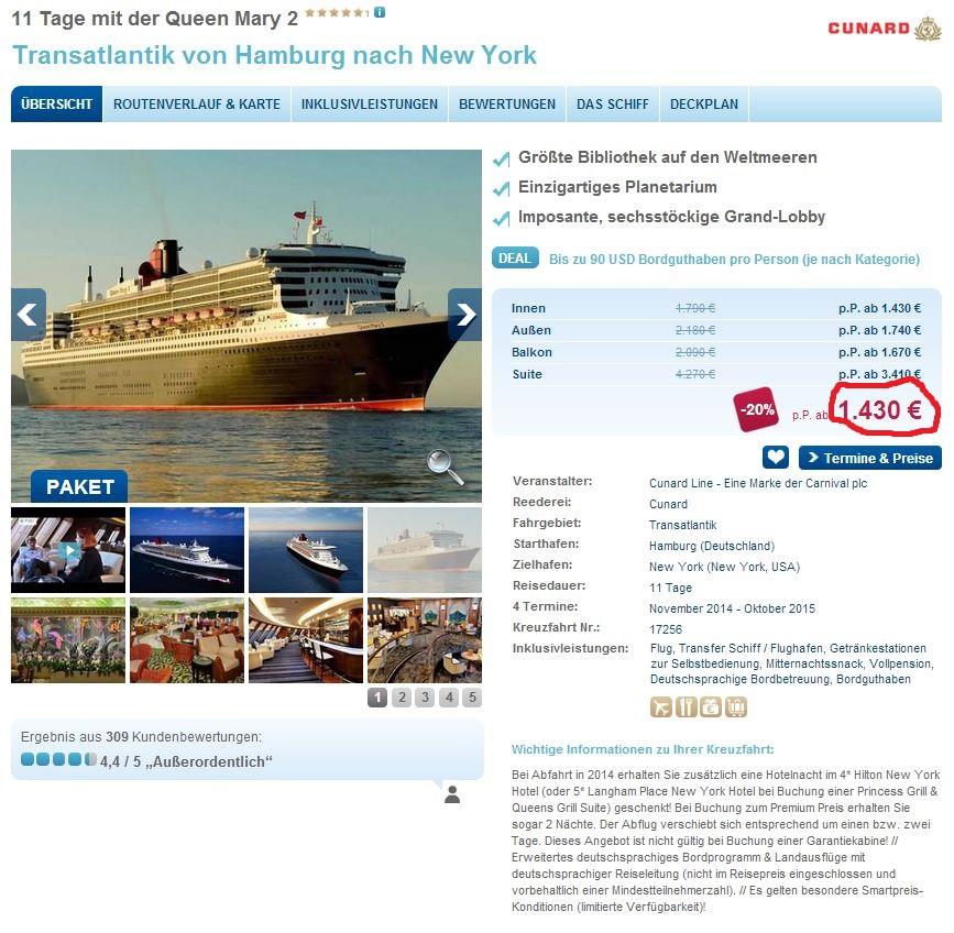 11 tägige Transatlantik Kreuzfahrt von Hamburg nach New York mit der Queen Marry 2 inkl. Flüge für 1.430€