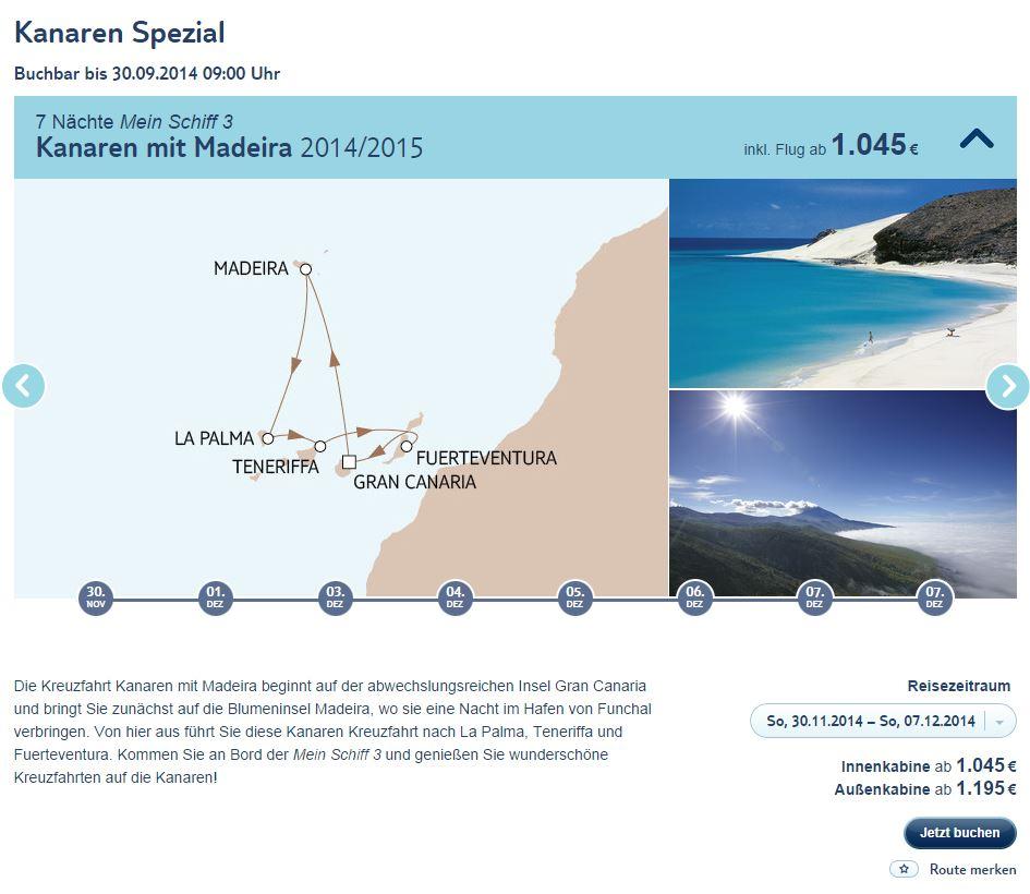 Kanarenkreuzfahrt inkl. Flug für 1045€
