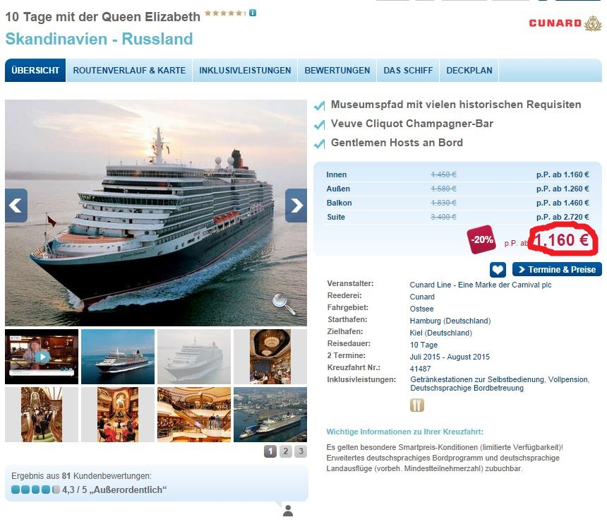 Spannende Ostseekreuzfahrt ab Hamburg: 10 Tage Queen Elizabeth 1.160€