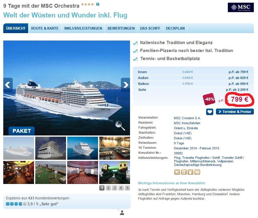 Last Minute Schnäppchen: 9 tägige Orient Kreuzfahrt ab Dubai inkl. Flug für 799€ (45% gespart!)