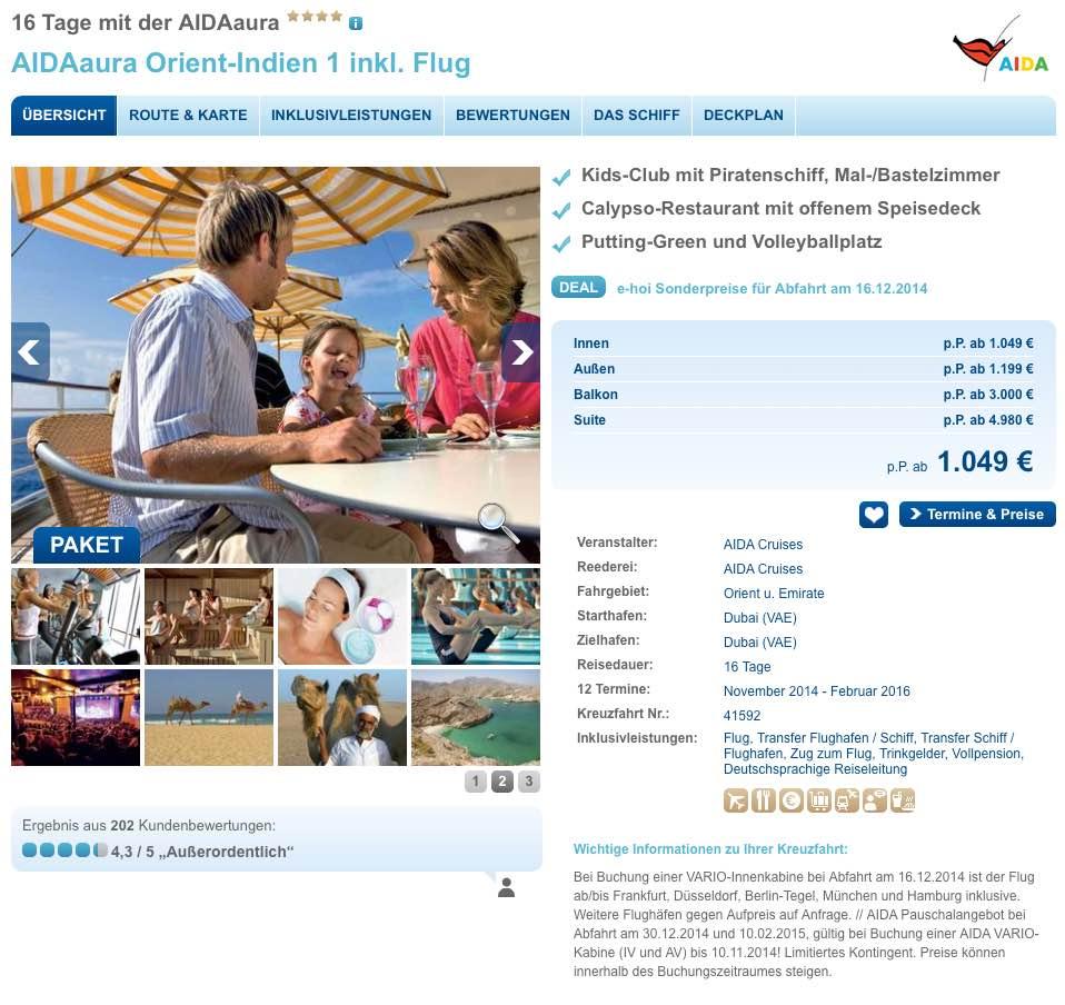 Last Minute Knaller: 16 tägige AIDA Orient Kreuzfahrt inkl. Flug 1.049€