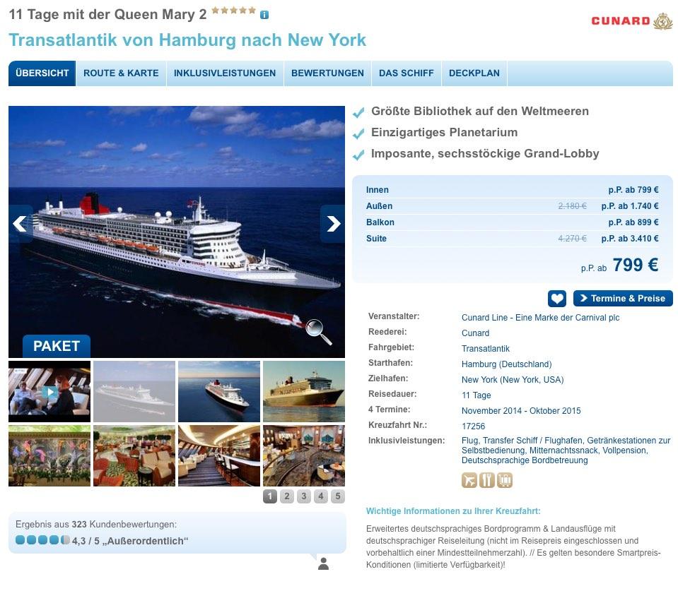 Transatlantik Kreuzfahrt ab Hamburg mit der Queen Mary 2 – 11 Tage inklusive Flug 799€