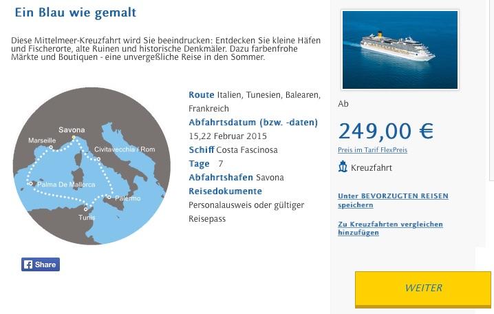 Costa Mittelmeer Kreuzfahrt für unter 250€ – 7 Tage Vollpension ab Savona
