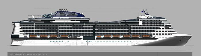 Die MSC Meraviglia aus der Seitenansicht Bild: MSC Kreuzfahrten